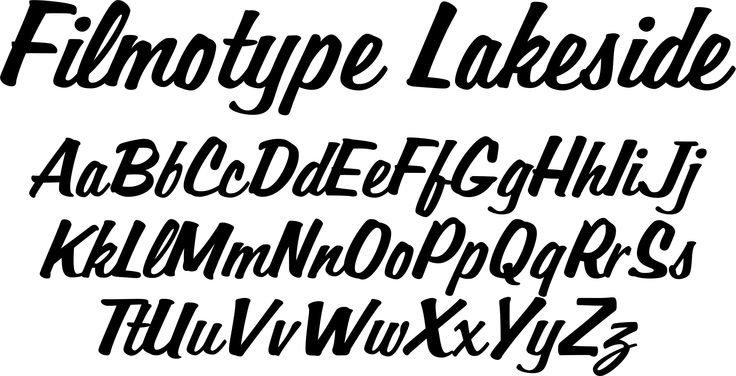 Filmotype Lakeside font - originally offered by Filmotype in the early 1950s, Filmotype Lakeside was among its earliest informal style brush script typefaces inspired by sign painter classic brush script styles. Developed from the original font filmstrips!