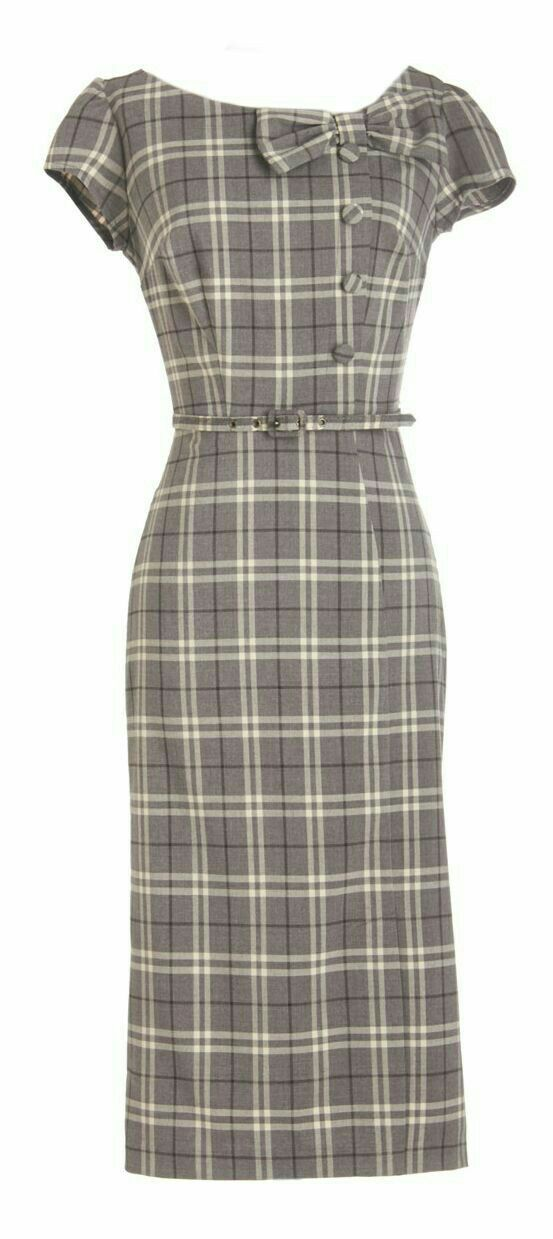 Beautiful plaid pencil dress with short sleeves. . . very retro!