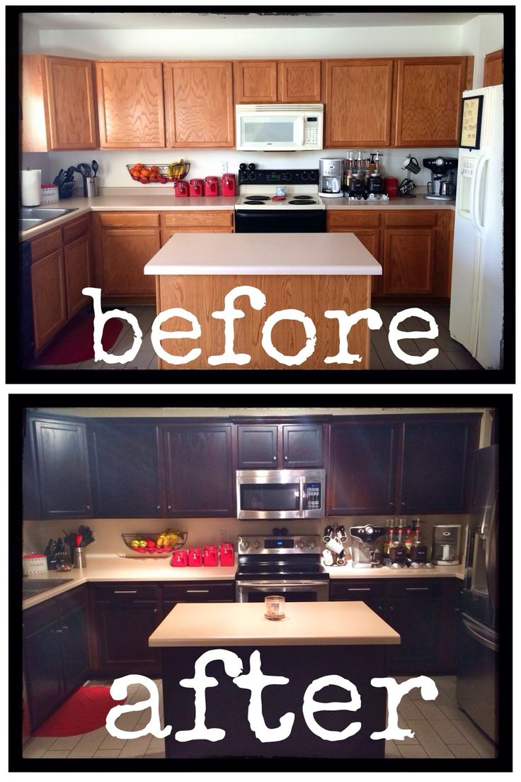 DIY.. How To Inexpensively Stain/Paint/Refinish Your Kitchen Cabinets