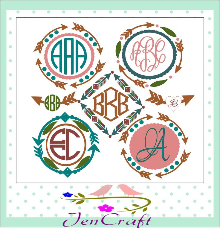 Arrow Monogram Frames SVG, Cuttable monogram SVG EPS Png Dxf, Cricut Design Space, Silhouette Studio, Digital Cut Files by JenCraftDesigns on Etsy