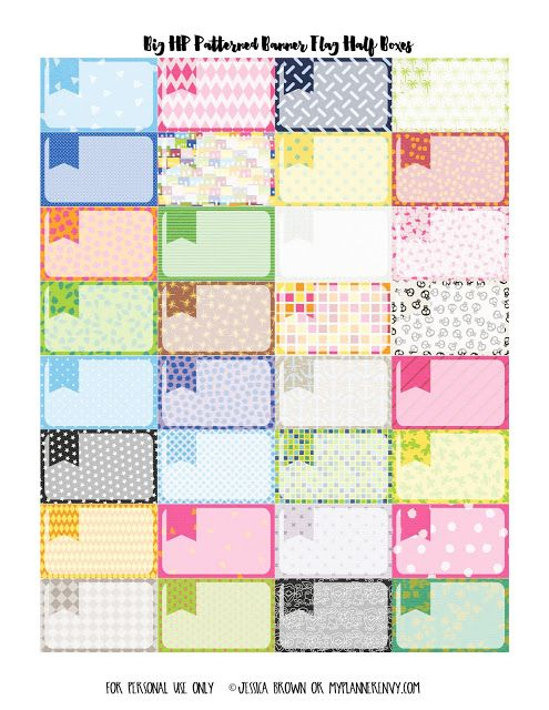 Free Printable Patterned Banner Flag Half Boxes Planner Stickers {PDF, JPG and Studio3 files} from myplannerenvy.com