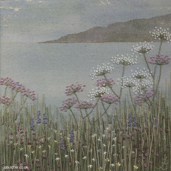 Seascape -- painted background, overlaid with embroidery. Very pretty.