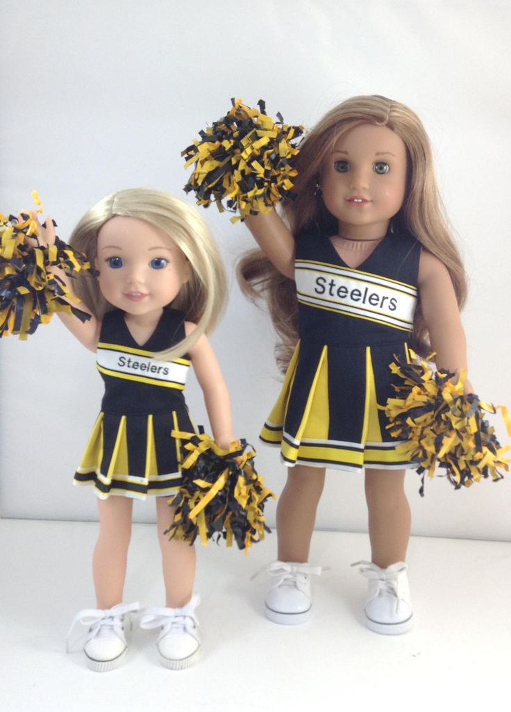 "RESERVED for Teresa -1 Steelers Cheerleader for 18"" Dolls like American Girl(R) And 1 Steeler Cheerleader for 14.5"" Like AG Wellie Wisher by MjsDollBoutique18T on Etsy"