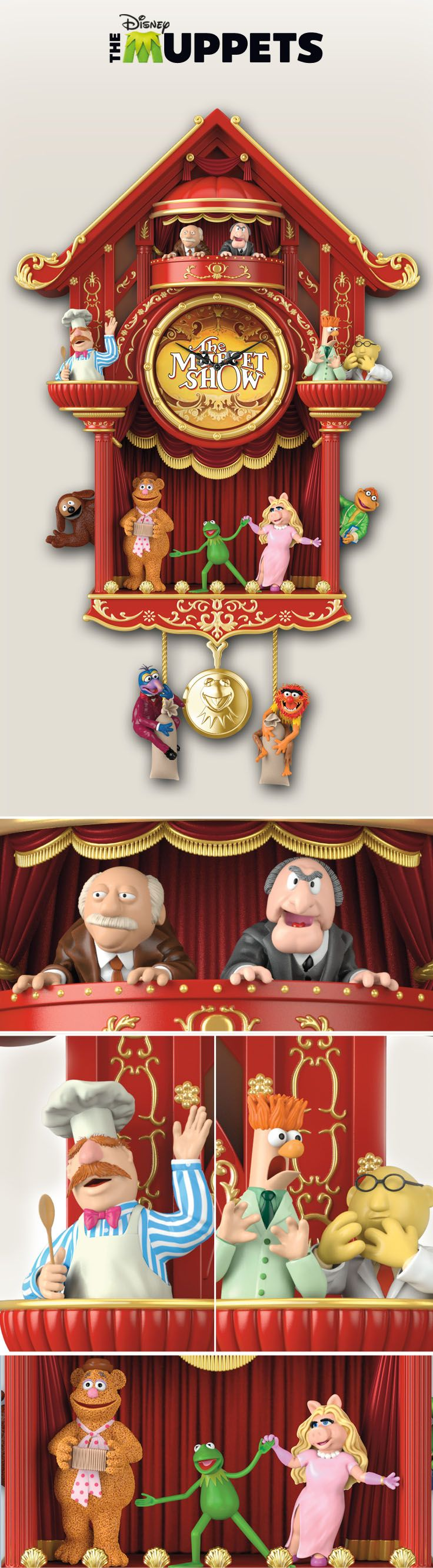 Let the Muppets bring their unique brand of entertainment and lights to every hour with The Muppet Show Cuckoo Clock. It even plays sound clips from the beloved TV show!