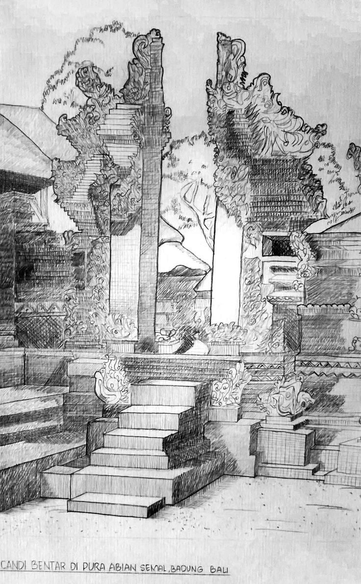 Redrawing of The Bentar Temple