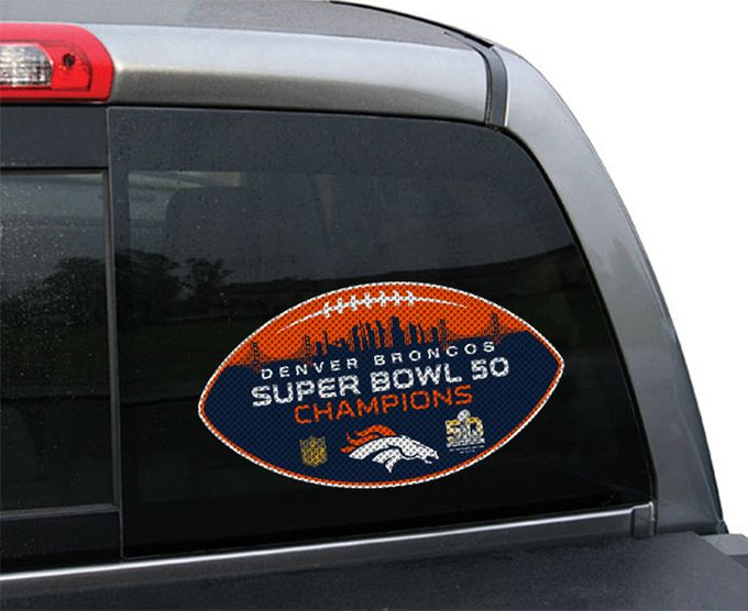 Denver Broncos Super Bowl 50 Champion Large Die-Cut Window Film