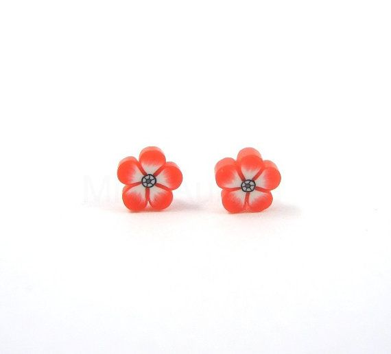 Tiny Red Flower Earring Studs Free Shipping Etsy by MistyAurora, $10.00