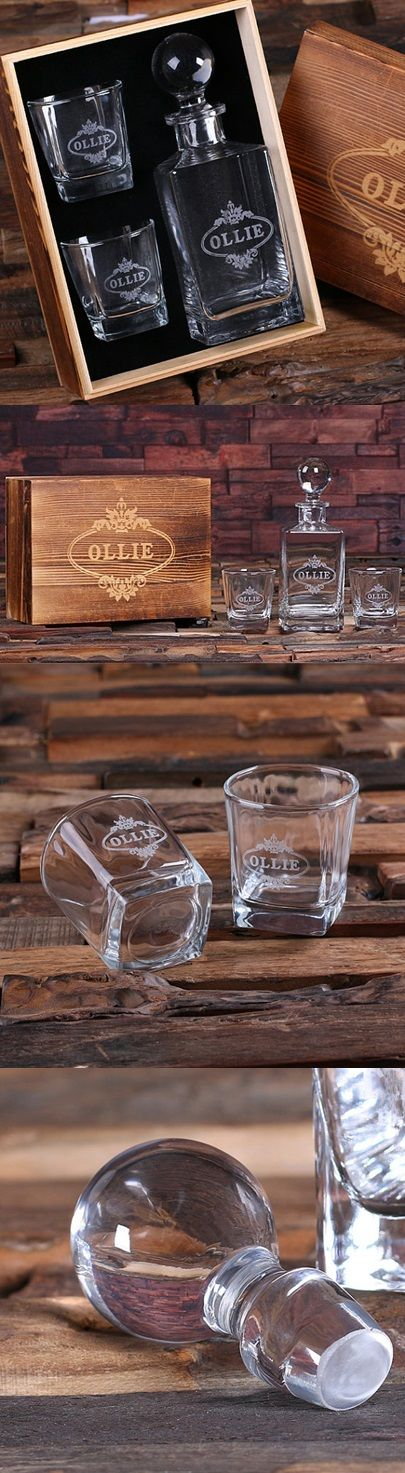 Personalized Whiskey Decanter with Two Rocks Glasses in Wood Gift Box