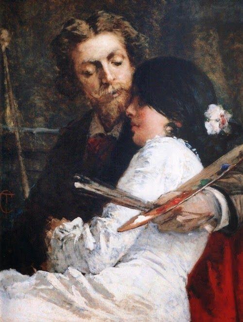 Tranquillo Cremona (1837-1878) 'Il pittore e la modella'