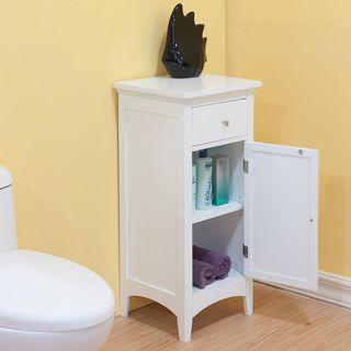 Bayfield White Shutter Door 1 Drawer Floor Cabinet By Elegant Home Fashions