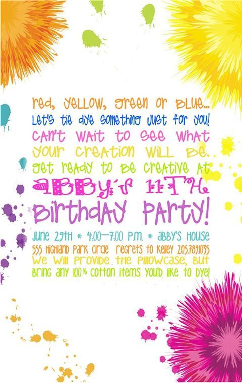 tie dye party invitations - Google Search