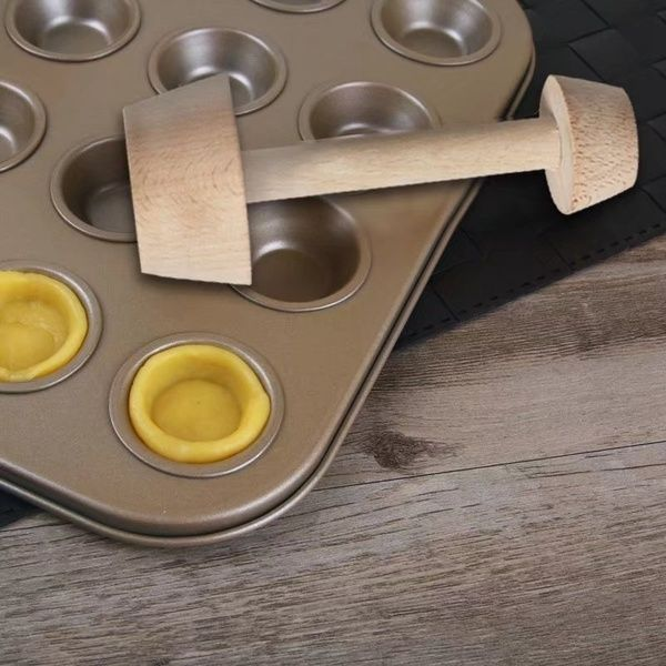 Egg Tart Tamper Double Side Wood Pastry Pusher DIY Baking Shaping Kitchen Tools