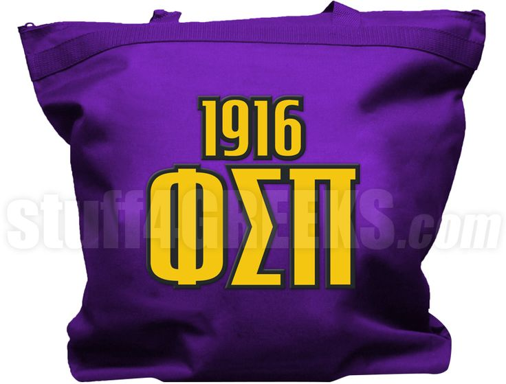 purple phi sigma pi tote bag with the greek letters and founding year across the front