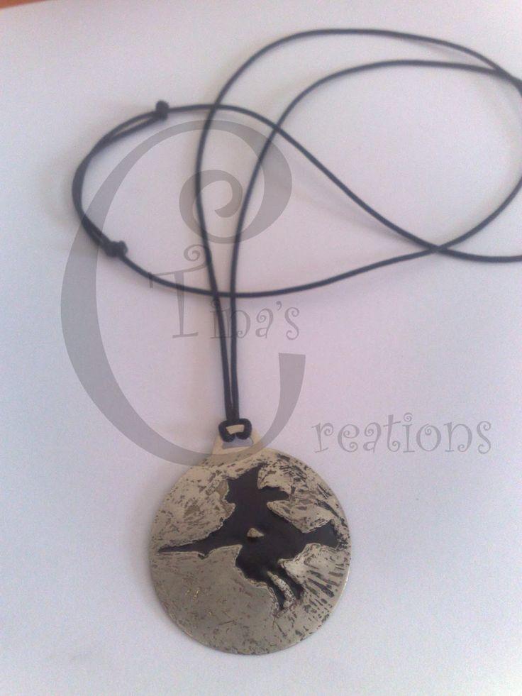 Tina's Creations - Handmade Jewels & More!: 10€ Κρεμαστο μαυρη μαγισσα / Black witch pendant