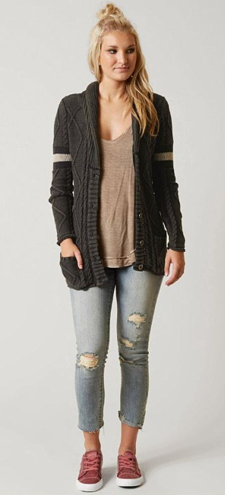 Fall Outfits Back to School : Gilded Intent Cable Knit Cardigan | Buckle