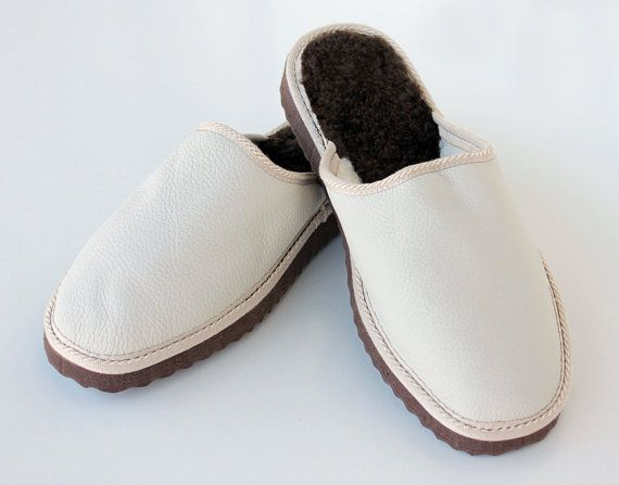 Ice White handmade slippers for men made with nappa by lefushop