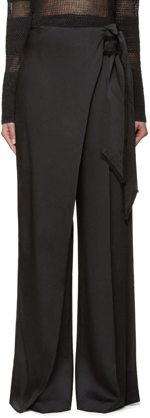Wide-leg trousers in black. Self-tie belt with frayed edges integrated at wrapped waistband with press-stud and hook-eye fastening. Four-pocket styling. Tonal stitching.