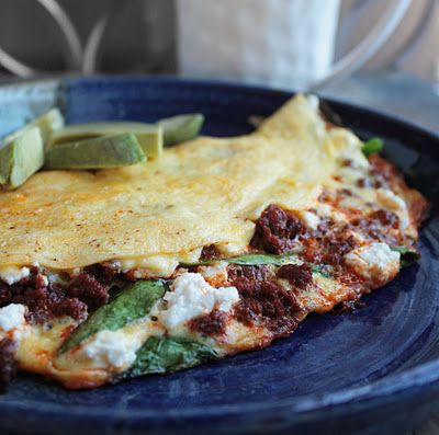 Use Trader joe's Soy Chorizo Spinach, Goat Cheese & Chorizo Omelette 4 ounces chorizo sausage 1/2 Tbl butter 4 eggs 1 Tbl water 2 ounces crumbled fresh goat cheese 2 cups baby spinach leaves sliced avocado (optional) 1/4 cup salsa verde (optional)