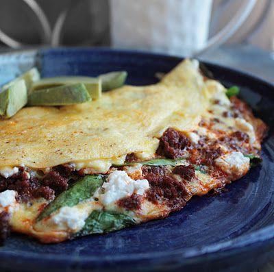 Spinach, Goat Cheese & Chorizo Omelette - YUM!