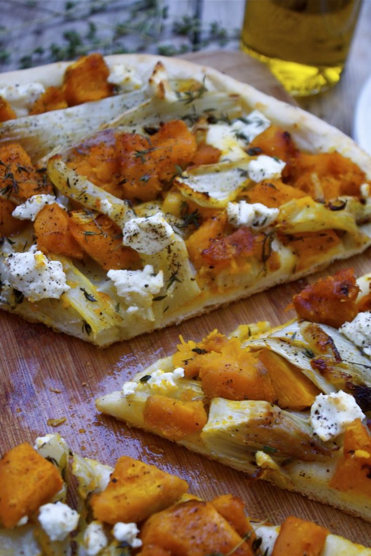 Roasted Squash, Fennel & Thyme Pizza with Goat Cheese
