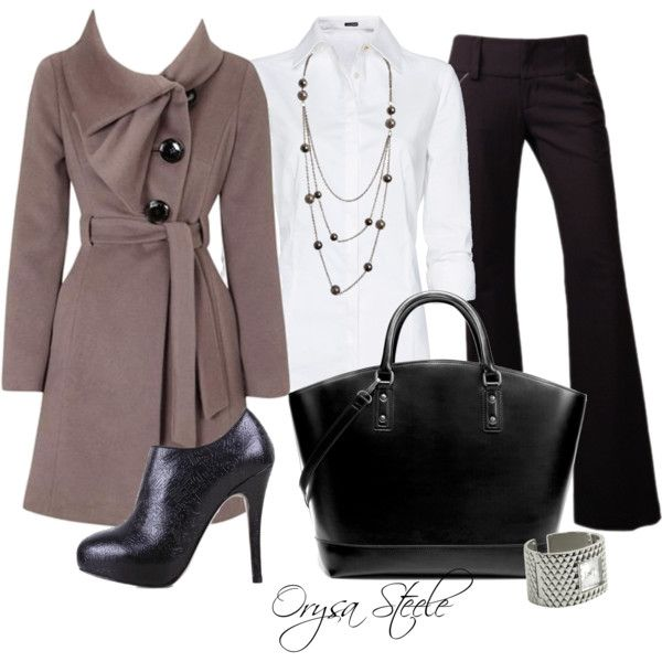 """""""She Means Business"""" by orysa on Polyvore. Love the coat!"""