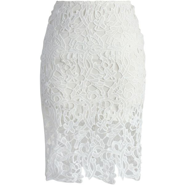 Chicwish Charme Crochet Lace Pencil Skirt in White ($38) ❤ liked on Polyvore featuring skirts, white, stretchy skirts, pastel skirt, knee length pencil skirt, white stretch skirt and wet look skirt