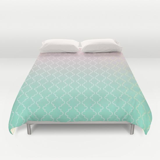 Moroccan pattern with mint, pink and gold Duvet Cover