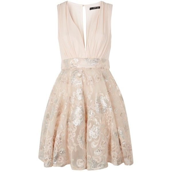 Joany Midi Skater Dress by Tfnc (£45) ❤ liked on Polyvore featuring dresses, nude, plunge neck skater dress, party dresses, skater dress, pink dress and midi dress