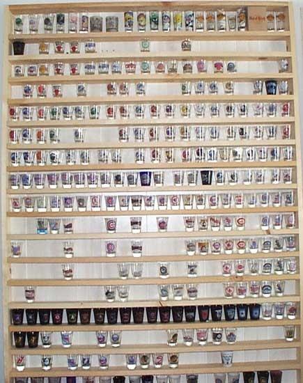 shot glass display wall unit