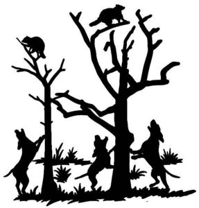 Coon Hunting Decal Split Tree Hunting Truck Sticker