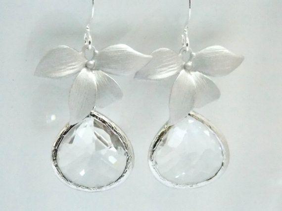VENDITA chiaro orecchini vetro cristallo argento di mlejewelry