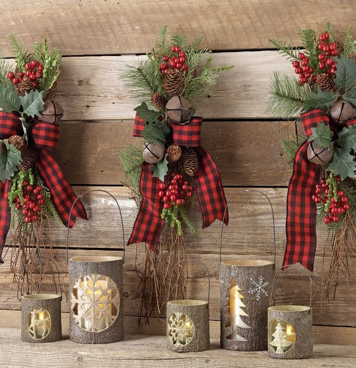 """RAZ Jingle Bell Swag with Buffalo Plaid Bow   Red, Black, Green Made of PVC, Twig Measures 23""""  *RAZ Exclusive Design*  RAZ 2016 Christmas Cabin Collection"""
