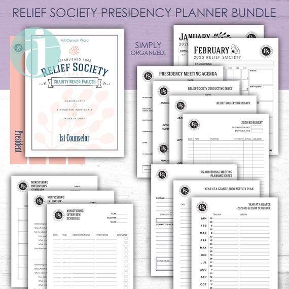 Sept 2019 Dec 2020 Relief Society Presidency Planner Binder Covers Meeting Agenda Teaching Relief Society Lds Relief Society Relief Society Visiting Teaching
