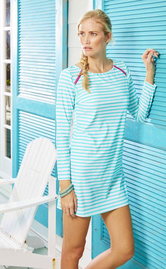 Ladies Swim Dress, Aqua Stripe - UPF50+
