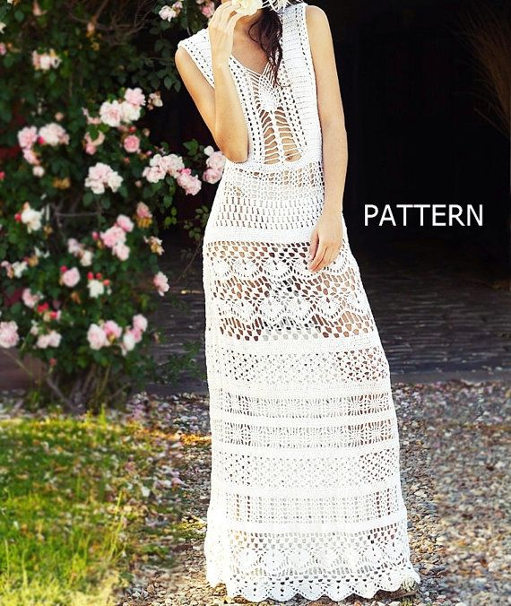 PATTERN- long sexy crochet dress summer beach maxi 2 evening wedding bride boho…