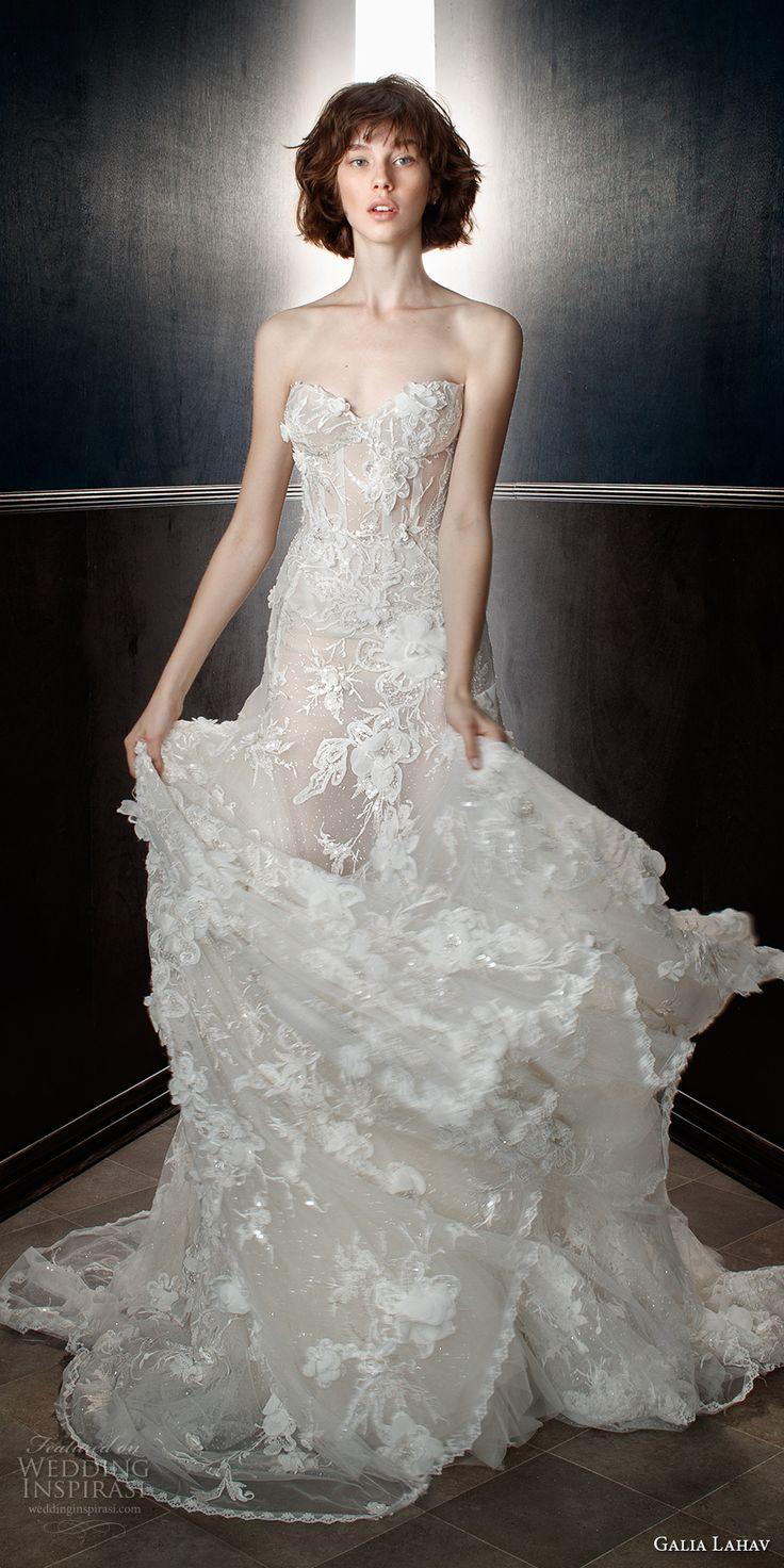 galia lahav spring 2018 bridal strapless sweetheart neckline full embellishment elegant romantic a  line wedding dress chapel train (laura) mv -- Galia Lahav Spring 2018 Wedding Dresses