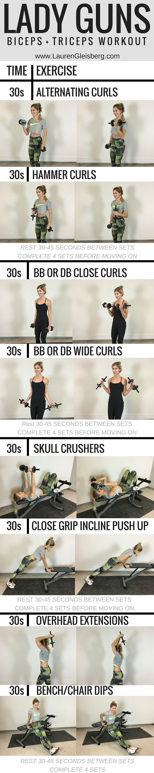 Lady Guns Arm Workout - click for 1000s of free workouts + full workout plans LaurenGleisberg.com