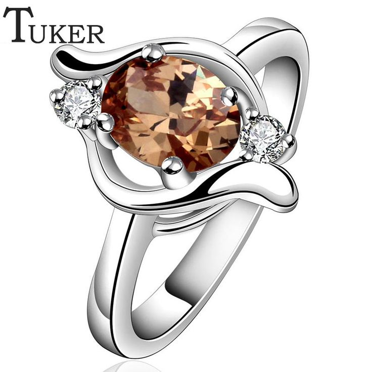 Fashion 925 Silver Rings Filled Brown / white CZ Jewelry Wedding Engagement Ring for Women Fine Jewelry For Women