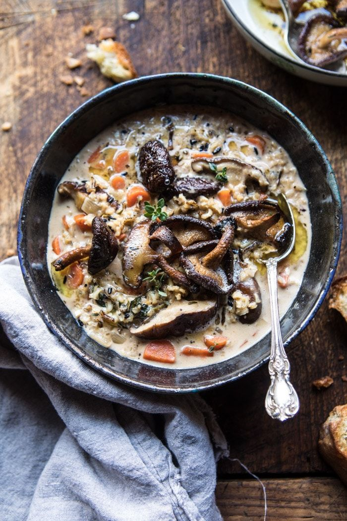 Slow Cooker Creamy Wild Rice Soup with Butter Roasted Mushrooms