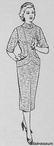 Платье с планкой переходящей в карманы - Сто фасонов женского платья  - Всё о шитье