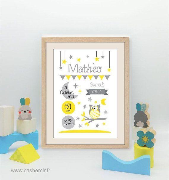 Affiche Chambre Bebe Cadeau De Naissance Personnalise Bebe