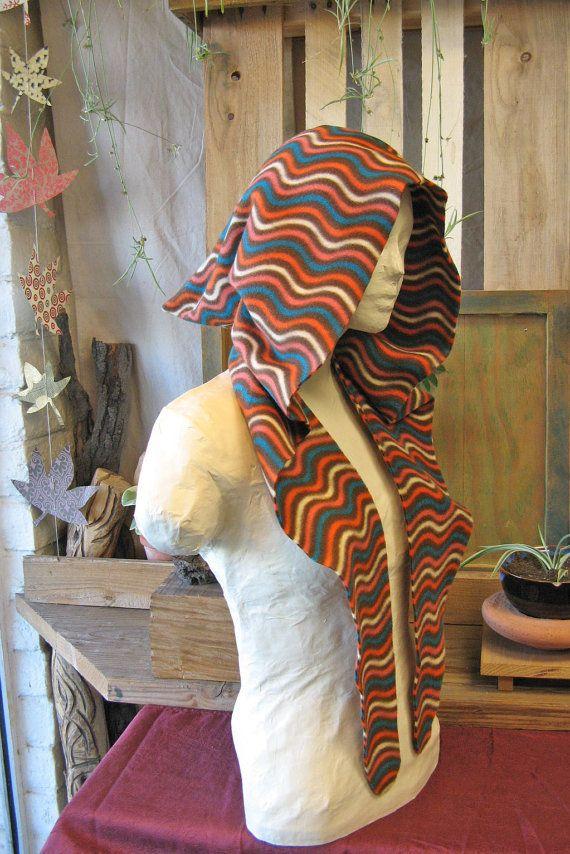 In pile Sciarpa con cappuccio elfico, Scoodie, cappuccio con visiera Elven Festival, Faerie cappuccio, cappuccio caldo, Phychedelic stampa, Hippie, foresta Pixie