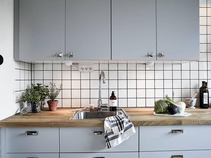 Greyish-blue cabinets