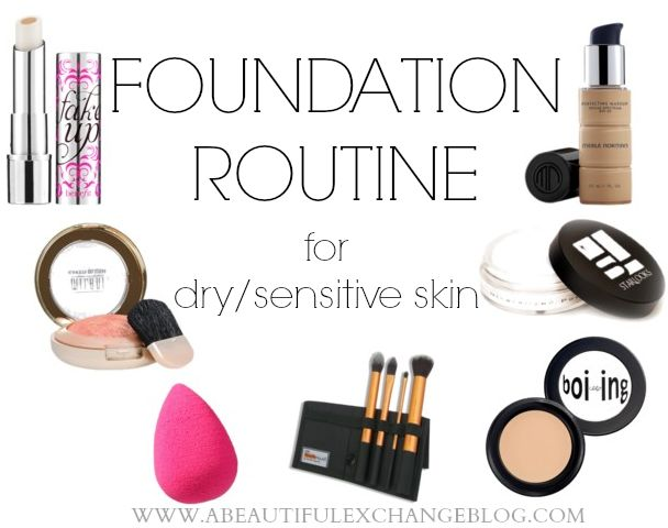 A super easy foundation routine for dry and sensitive skin. Lists out product suggestions and tools to use!