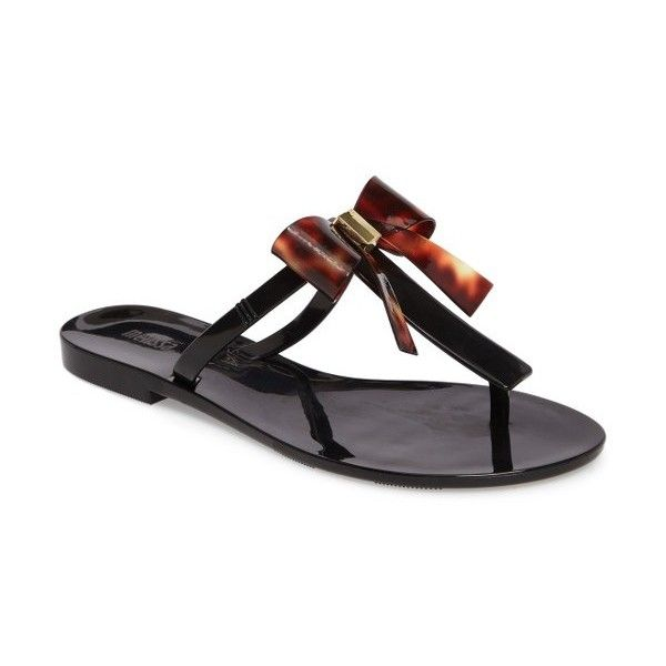 Women's Melissa T-Bar Flip-Flop ($65) ❤ liked on Polyvore featuring shoes, sandals, flip flops, black, black shoes, t strap shoes, melissa flip flops, kohl shoes and melissa shoes