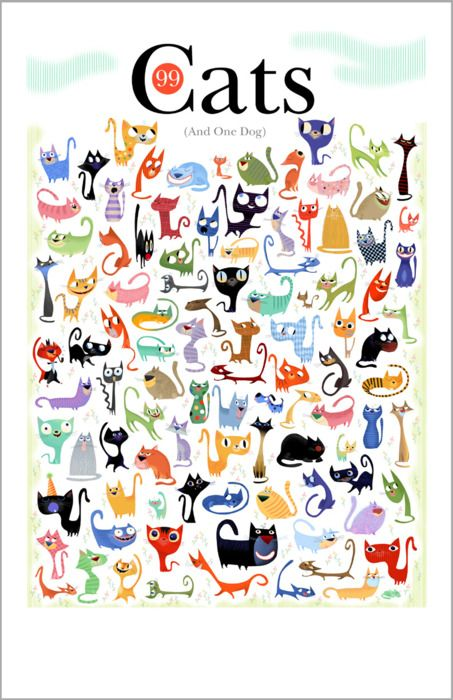 99 Cats and 1 Dog print by artist [Bob Staake]. Done for the [International Fund for Animals Christmas fundraising campaign].
