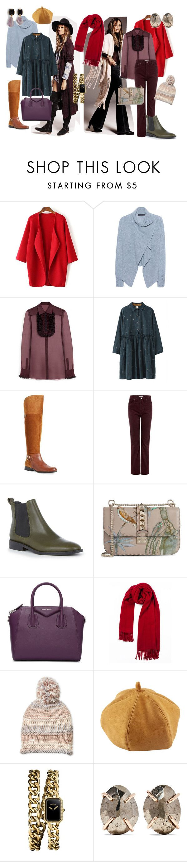 Boho my love by valerigi on Polyvore featuring мода, Mulberry, 360 Sweater, AG Adriano Goldschmied, Naturalizer, Warehouse, Givenchy, Valentino, Chanel and Melissa Joy Manning