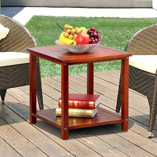 Outdoor Small Coffee Table Garden Side Table With Storage Shelf Patio Furniture  #SmartDealsMArket
