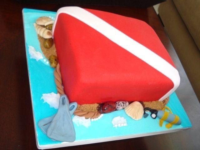 Scuba dive flag cake