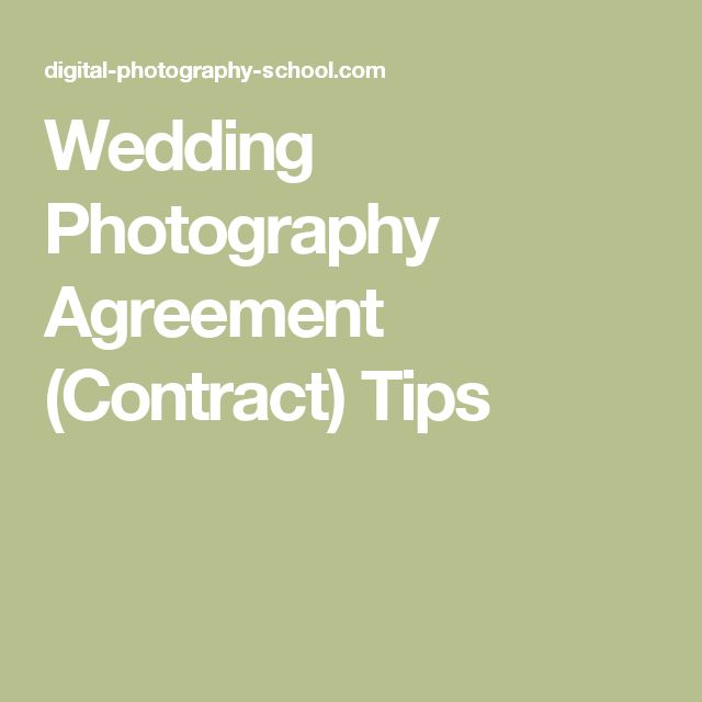 The  Best Wedding Photography Contract Ideas On
